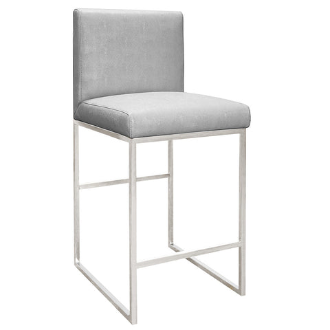 Worlds Away Nickel Square Counter Stool – Grey Faux Shagreen