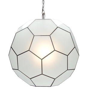 Worlds Away Frosted Glass Faceted Ball Pendant