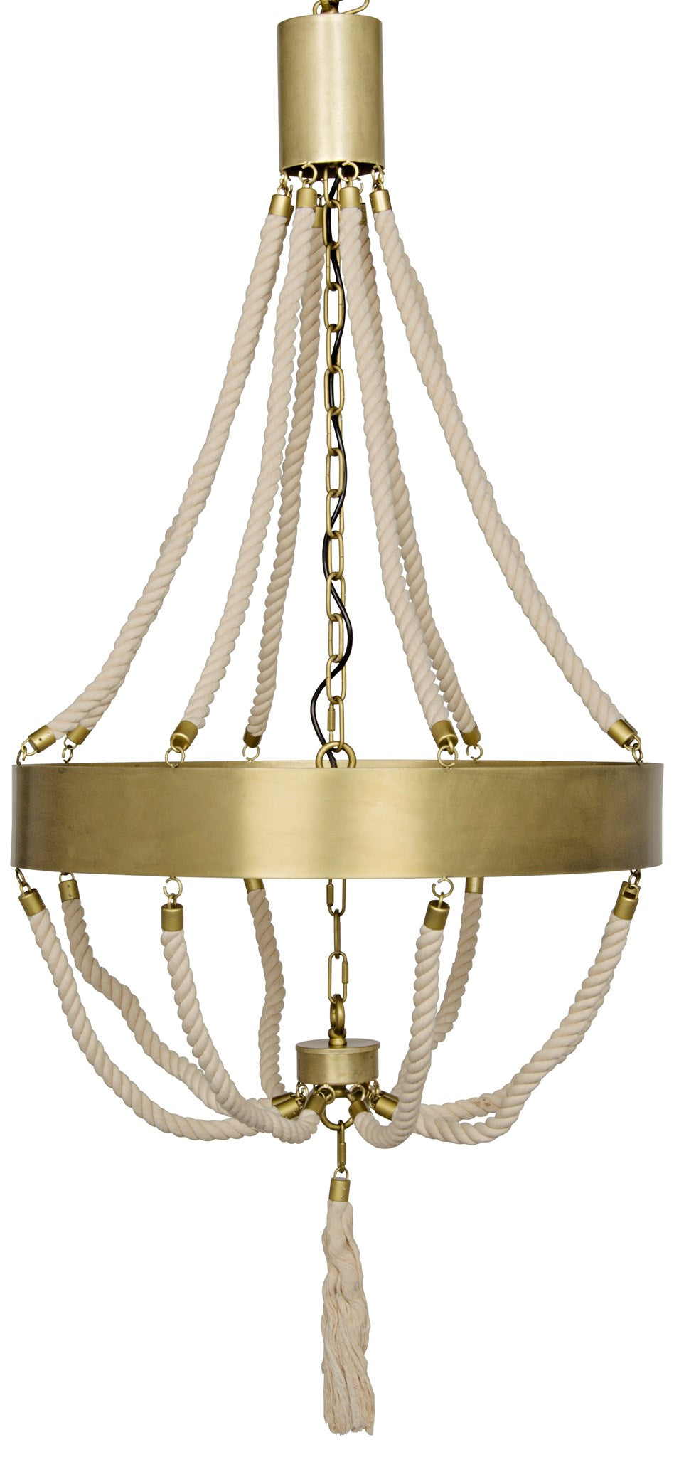 Noir Alec Brass & Rope Chandelier