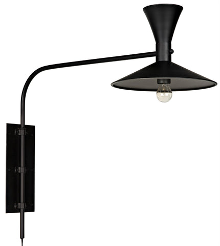 Noir Enzo Swing Arm Sconce - Black