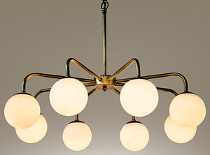Noir Larenta Chandelier - Antique Brass - Metal and Glass
