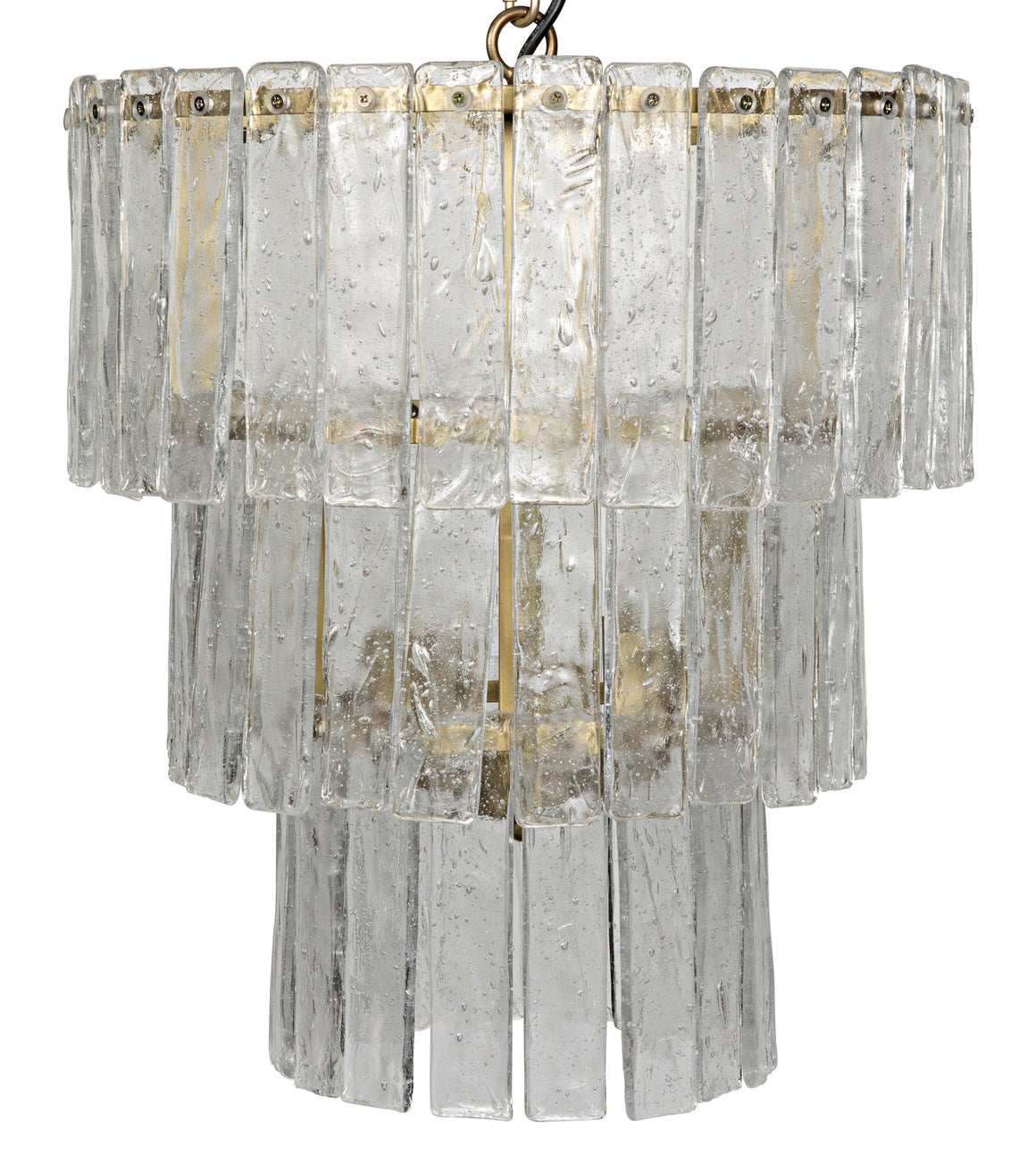 Noir Bruna Glass Chandelier - Antique Brass