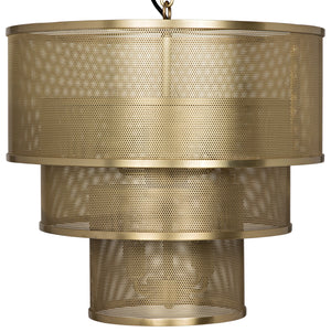 Noir Arena Perforated Tiered Pendant - Brass