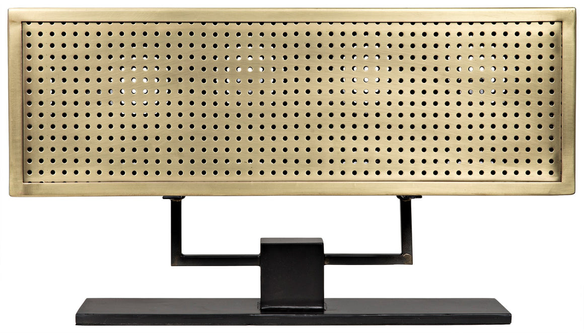 Noir Apollo Grid Table Lamp - Brass