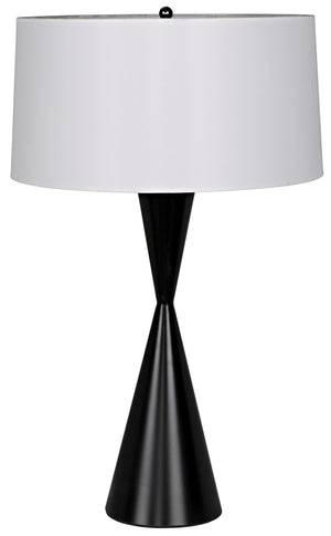 Noir Noble Table Lamp with Shade - Black Metal