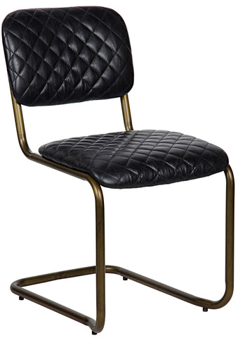 Noir Armless Dining Chair - Quilted Leather