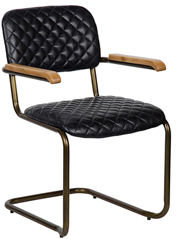 Noir Bent Arm Chair - Vintage Quilted Leather