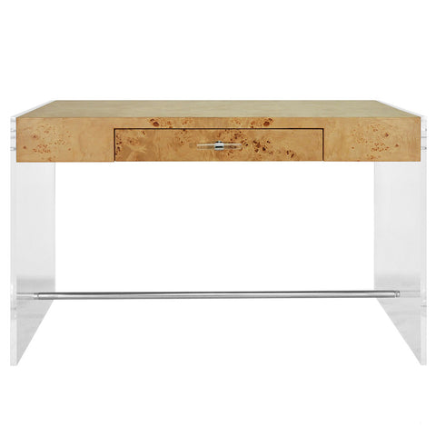 Worlds Away Modern Acrylic Sided Desk with Burl Wood Top
