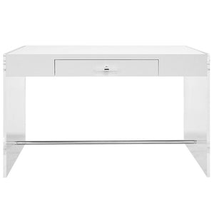 Worlds Away Modern Acrylic Sided Desk with White Lacquer Top