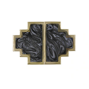 Worlds Away Levi Geometric Brass Knob - Charcoal Resin Inset