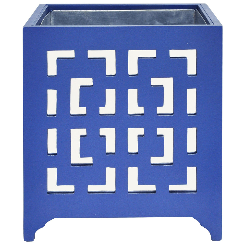 Worlds Away Square Mirrored Greek Key Planter - Blue
