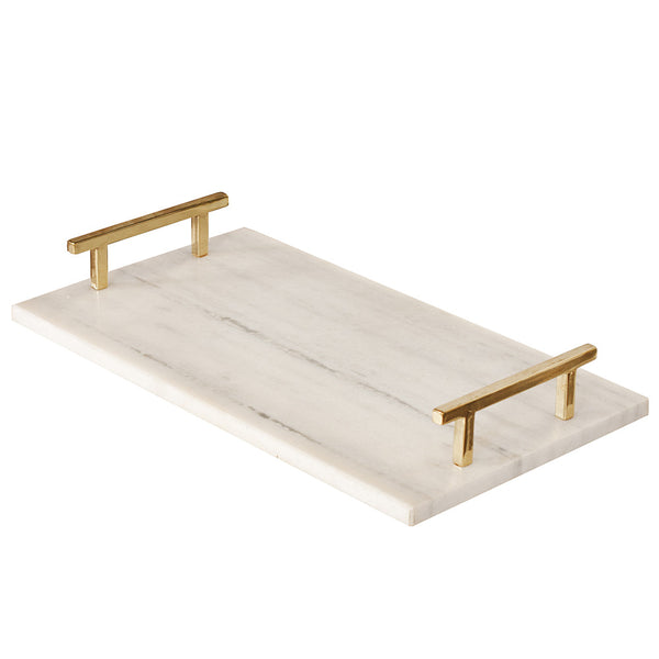Worlds Away White Marble Tray – Brass Handles