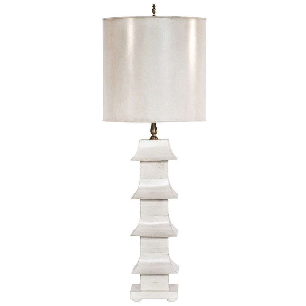 Worlds Away Pagoda Table Lamp with Shade – Cream