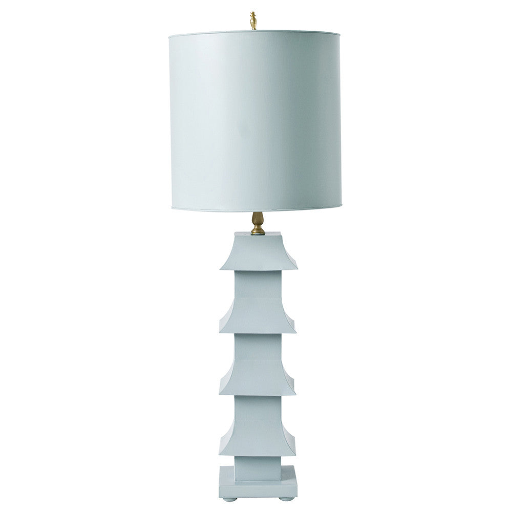 Worlds Away Pagoda Table Lamp with Shade – Powder Blue
