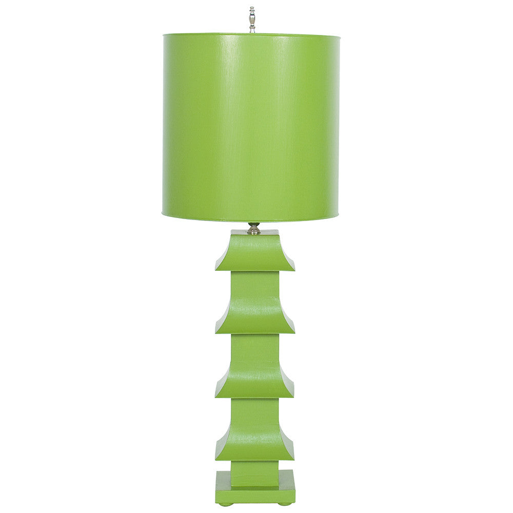 Worlds Away Pagoda Table Lamp with Shade – Green