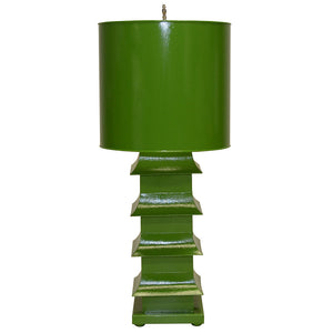 Worlds Away Large Pagoda Table Lamp – Green