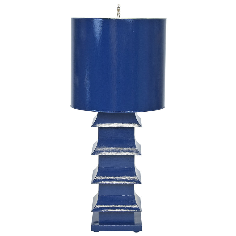Worlds Away Large Pagoda Table Lamp – Navy
