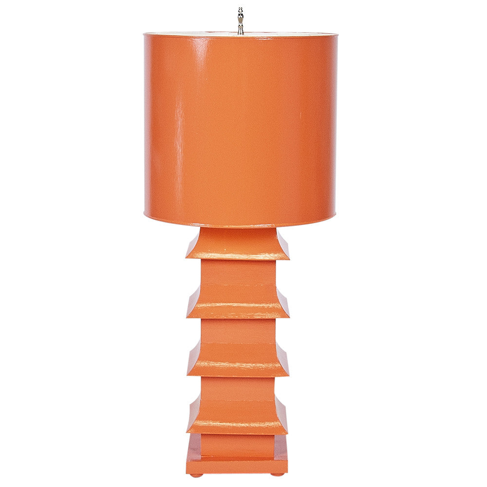 Worlds Away Large Pagoda Table Lamp – Orange