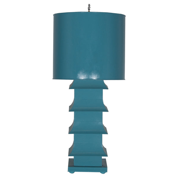 Worlds Away Large Pagoda Table Lamp  – Turquoise