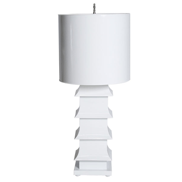 Worlds Away Large Pagoda Table Lamp  – White
