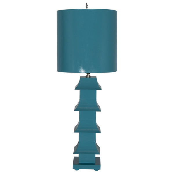 Worlds Away Pagoda Table Lamp with Shade – Turquoise