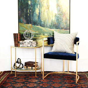 Worlds Away Louie Iron Side Table - Gold Leaf