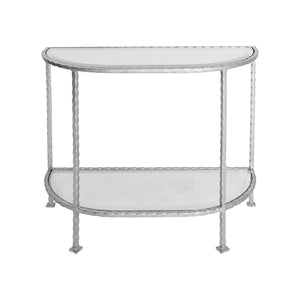 Worlds Away Iron Side Table - Silver Leaf