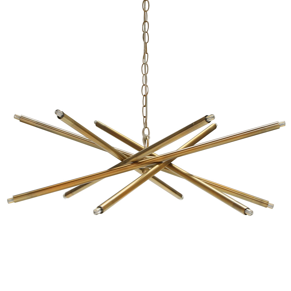 Worlds Away Modern 12-Light Chandelier – Antique Brass