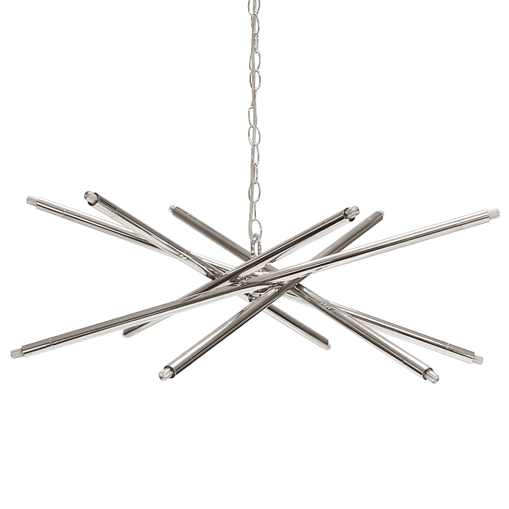 Worlds Away Modern 12-Light Chandelier – Nickel