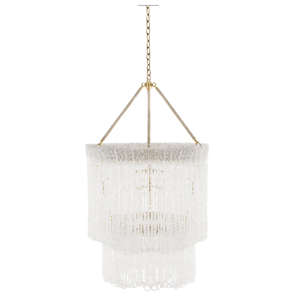 "24"" Lily Beaded Quartz 2-Tier Chandelier – 5 Colors"
