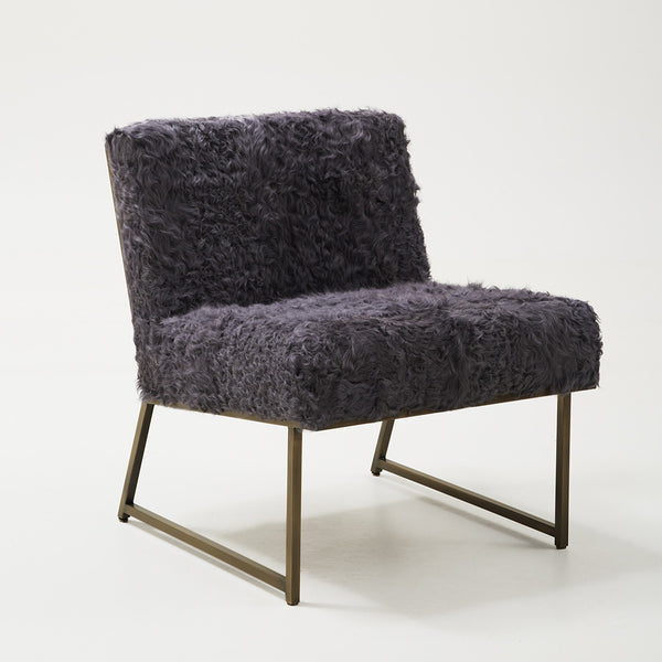 Low Lounge Chair – Grey Curly Lamb