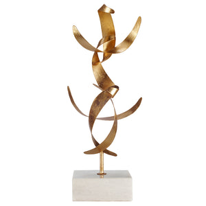 Worlds Away Abstract Sculpture on Marble Base – Gold Leaf