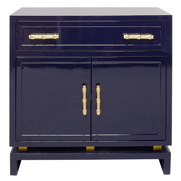 Worlds Away Lacquer Nightstand with Bamboo Details – Navy