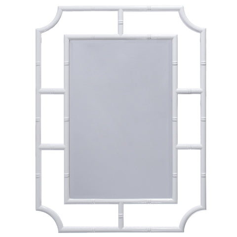 Worlds Away Bamboo Lacquer Mirror – White