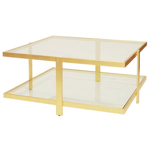 Worlds Away Maris 2 Tier Square Coffee Table – Gold Leaf
