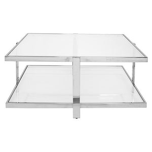 Worlds Away 2-Tier Square Glass Coffee Table – Polished Nickel