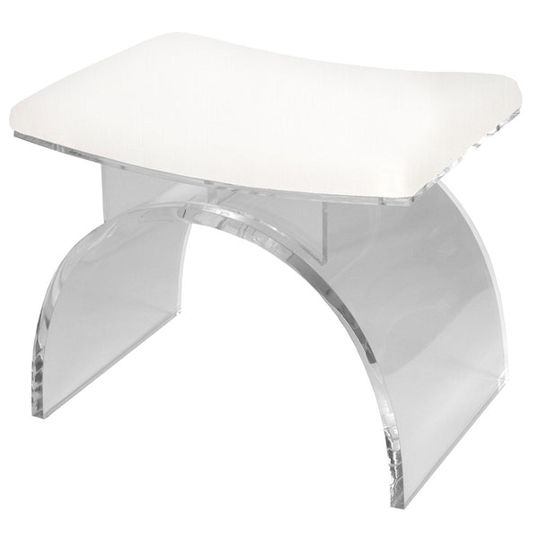 Worlds Away Lucite Stool with Linen Cushion – White