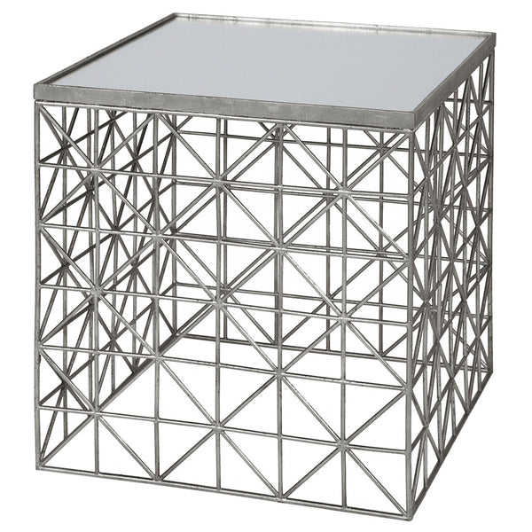 Worlds Away Diamond Pattern Table with Mirror Top – Silver Leaf