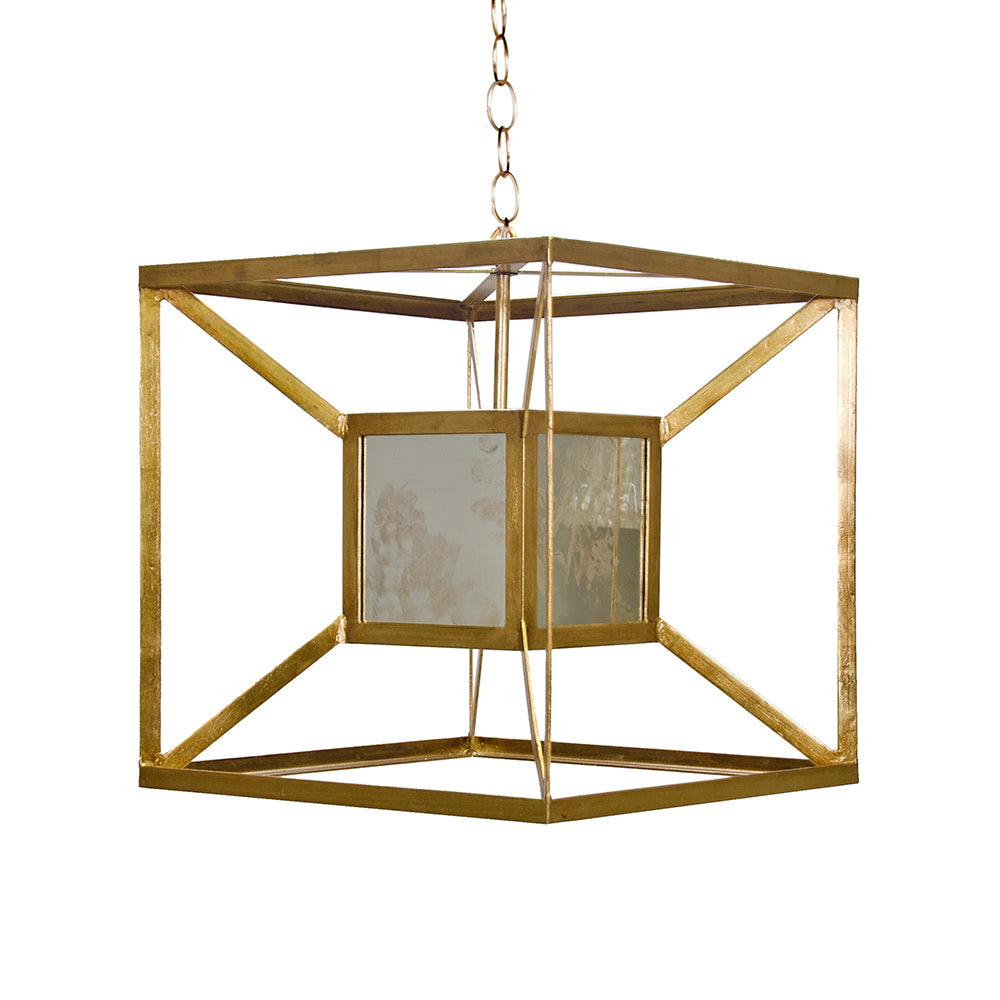 Worlds Away Nested Iron Cubes Pendant with Antique Mirror – Gold Leaf