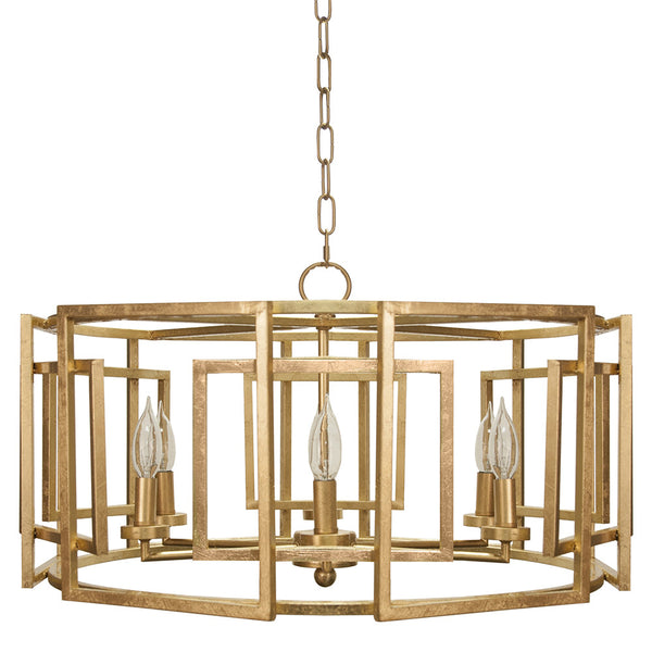 Worlds Away Square Motif Drum Chandelier – Gold Leaf