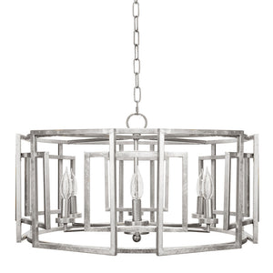Worlds Away Square Motif Drum Chandelier – Silver Leaf