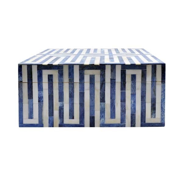 World's Away Large Geometric Patterned Box In Blue And White Resin