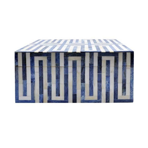 Worlds Away Large Geometric Patterned Box In Blue And White Resin