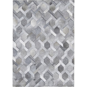 Chain Link Patchwork Hide Rug - Grey