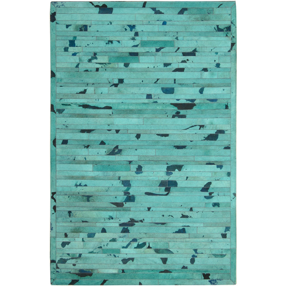 Patchwork Stripe Patterned Hide Rug - Turquoise
