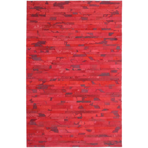 Patchwork Stripe Patterned Hide Rug - Bright Red