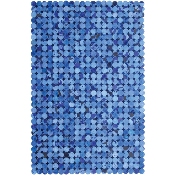Blue Discs Patchwork Hide Rug