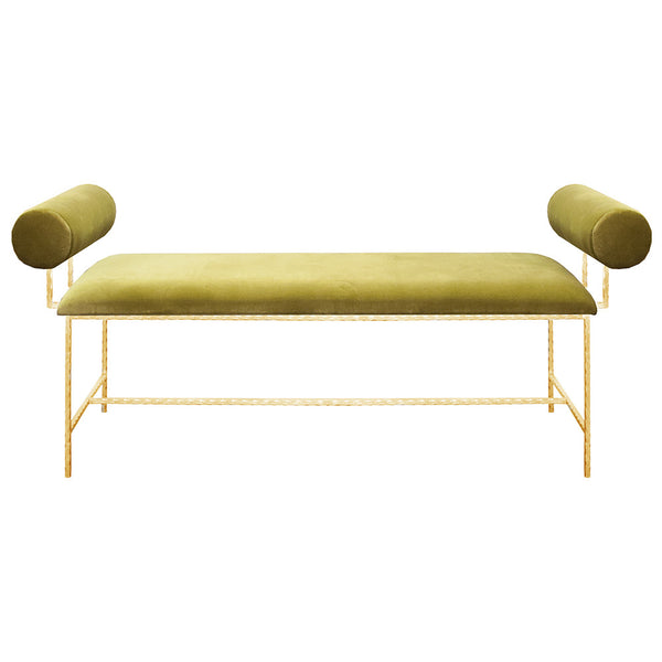 Worlds Away Modern Gold Leaf Bench – Green Velvet