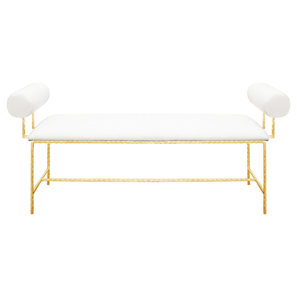 Worlds Away Modern Gold Leaf Bench – White Linen