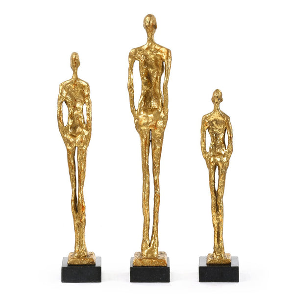 Bungalow 5 Cast Iron Figure Sculptures with Gold Leaf – Set of 3